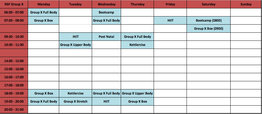 Group X New Timetable