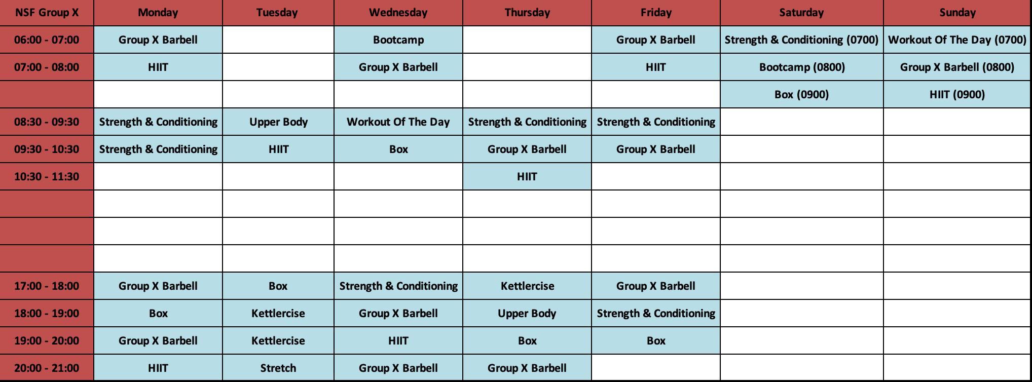 Jan Timetable
